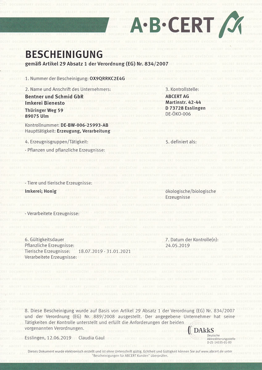 Bio-Zertifikat der Imkerei Bienesto ausgestellt von ABCert im Jahr 2019
