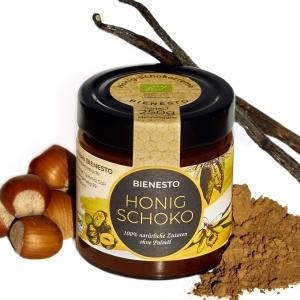 250g Glas mit der gesunden Nussnougat-Creme Alternative, mit Honig und 100% natürlichen Bio-Zutaten ohne Palmöl.