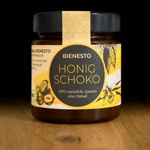 250g Glas Honig Schoko - die gesunde Bio Nussnougat-Creme Alternative, mit Honig und 100% natürlichen Bio-Zutaten ohne Palmöl.