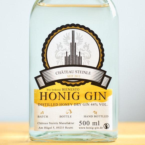 Honig-Gin der Imkerei Bienesto und Chateau Steinle, 500ml Flasche
